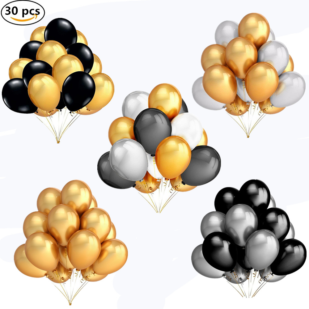 30pcs/lot 10 Inch Pearl Gold Silver Black Latex Balloons Birthday Wedding Party Decor Air Helium Globos Kids Gifts Supplies