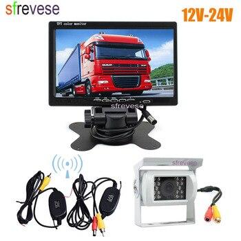 """7"""" LCD Monitor Car Rear View Kit + White Waterproof 18 IR LED Wireless Reversing Backup Camera for Bus Truck 12V-24V"""