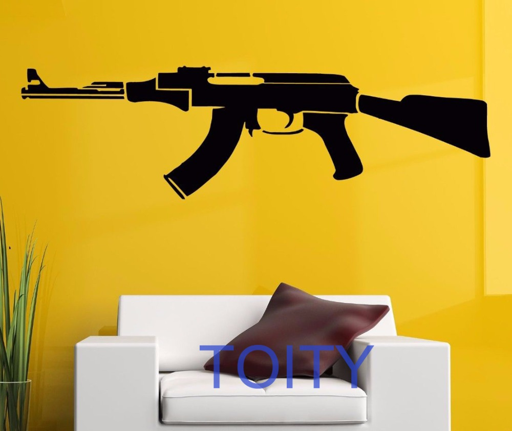 AK 47 Wall Sticker Weapon Machine Gun Vinyl Decal Home Room Decor ...
