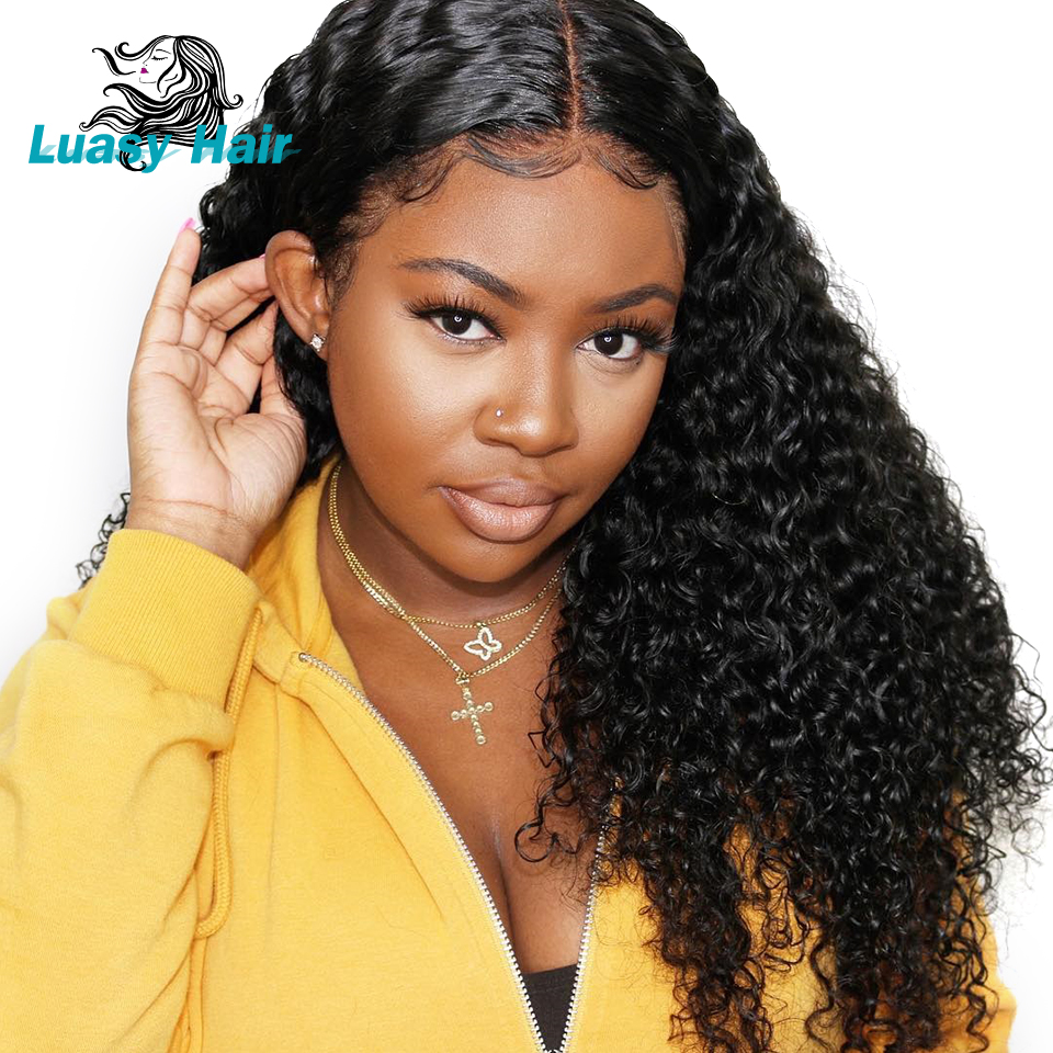 Luasy 360 Lace Frontal Wigs For Black Women Malaysian Curly Lace Front Human Hair Wigs With