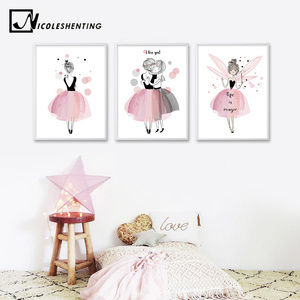 Watercolor Kawaii Cartoon Girl Posters and Prints Wall Art Canvas Painting Nordic Style Picture for Living Room Home Decor(China)