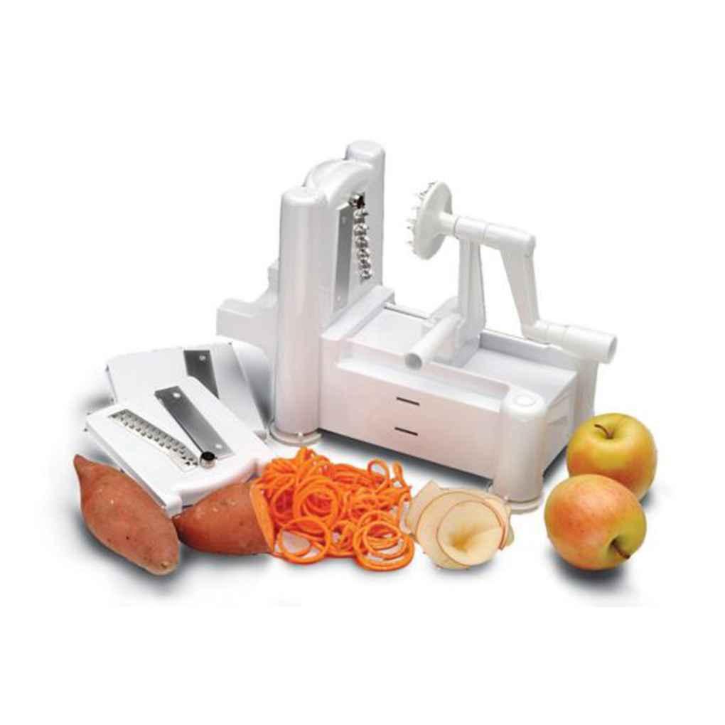 Manual Kitchen Tools Fruit Veggie Slicer Chopper Cutter Twister Peeler 3 in 1 Spiralizer