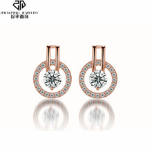 Luxury Round Stud Earrings AAA Transparent Zircon for Women Engagement Wedding Jewelry