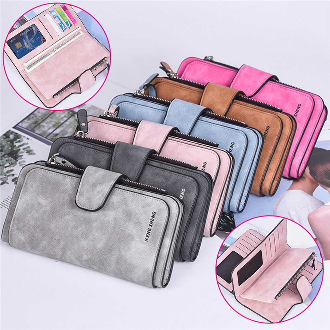 Ladys Purse Three-Fold Long-Style Frosted Card Bag Clasp Multi-Function Wallet Multi-Card WalletLadys Purse Three-Fold Long-Style Frosted Card Bag Clasp Multi-Function Wallet Multi-Card Wallet