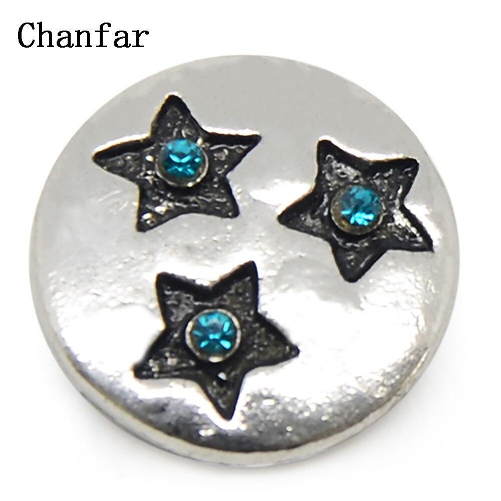 1dcc2a5be70e ᗔEstrella patrón Snap botón pulsera de cuero joyería