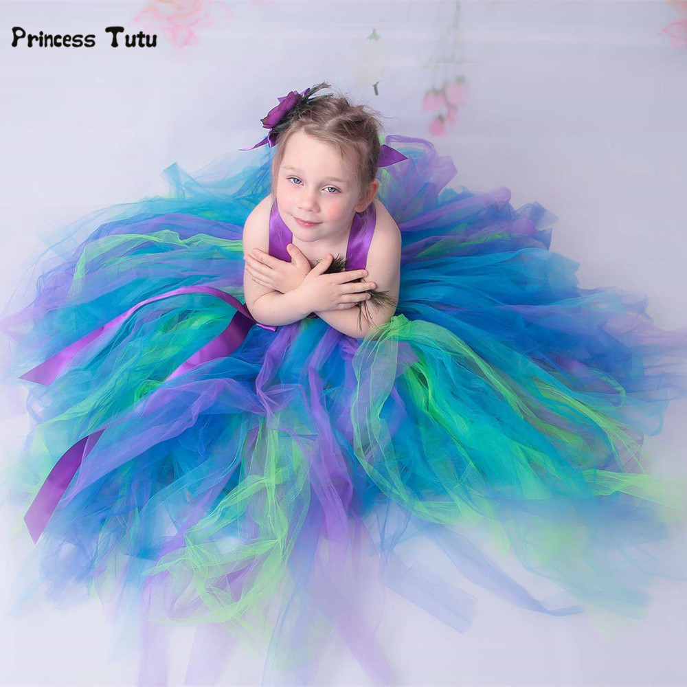 Girls Feather Peacock Dress Long Fluffy Flower Girl Tulle Tutu Dress Kids Party Pageant Wedding Birthday Dresses Costumes 1-14Y handmade girls tutu dress flower girl dresses halloween costume children kids tulle dress for pageant party prom photo vestidos