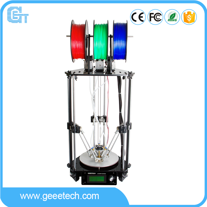 Geeetech 3D Printer 3-In-1-Out Extruder Rostock 301 High Precision Quality Metal with 3M Filament GTM32 Pro Control Board double color m6 3d printer 2017 high quality dual extruder full metal printers 3d with free pla filaments 1set gift