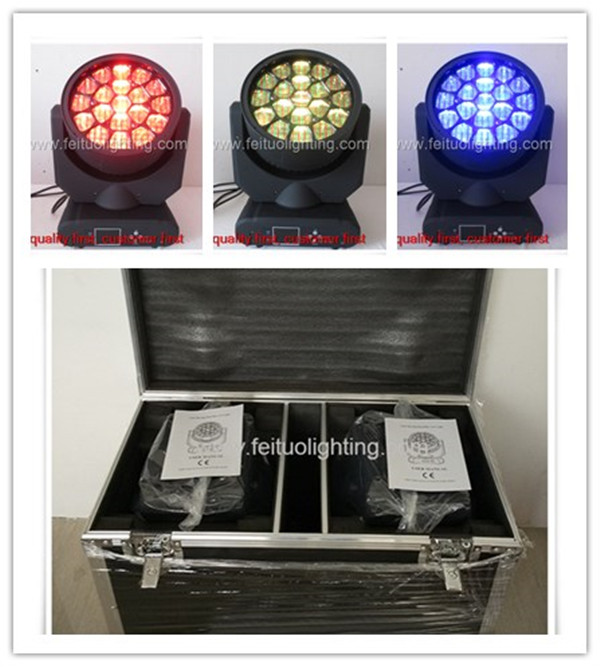 (2pcs/lot) Road case paking 19x12w rgbw 4 in1 bee eyes led moving head DJ lighting