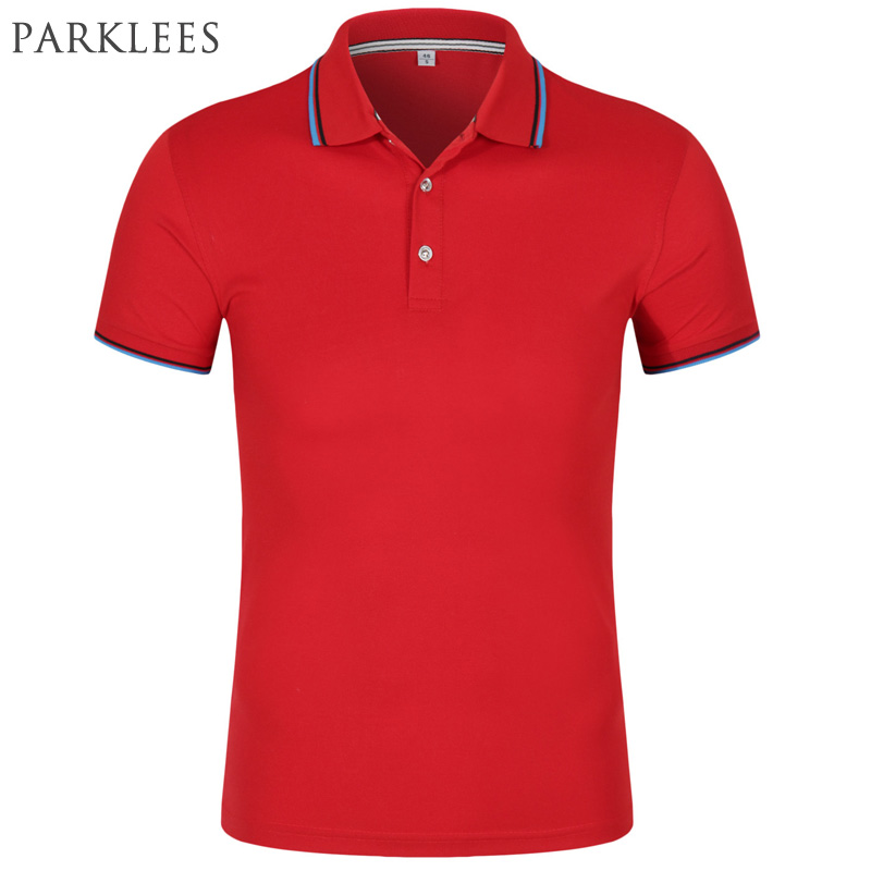 Brand Red Polo Men Summer Short Sleeve Solid Color Polo Shirt Casual Slim Fit Breathable Style Polo Homme Cotton Striped Polos
