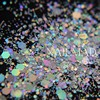 50 Grams Laser Nail Glitter Hexagon Strip Mix Shape Mix Size Nail Sequins For Makeup Nail