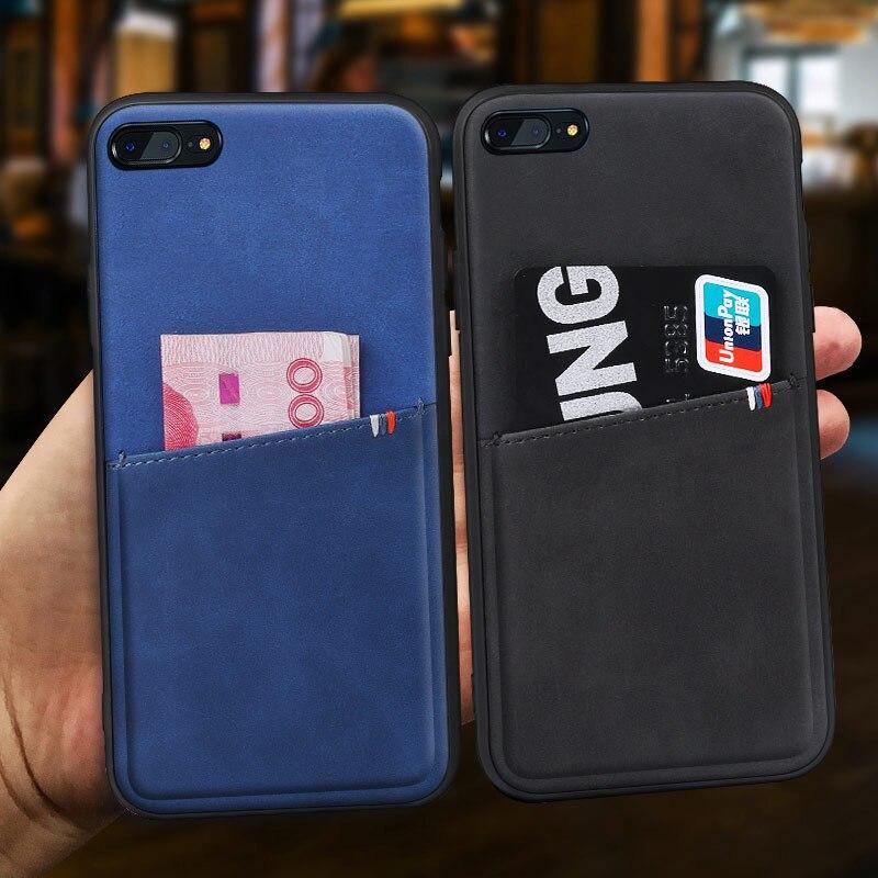 Pour iphone 7 cas en cuir d'affaires pour iphone 7 plus cas avec carte poche Mofi pour iphone 8 cas pour iphone 8 plus carte cas