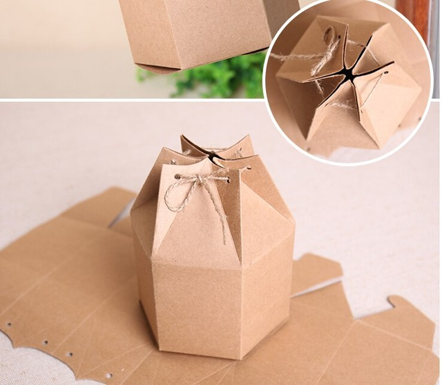 Gift Packaging Paper Box Brown Kraft Cardboard Decorated Boxes Natural Decorative