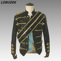 England Style Men Court Sequins Jacket Black White Sequined Jackets Nightclub Rock Singer Bands Stage Costume Chorus Team Coats