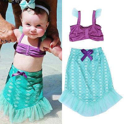 1-4y Bambino Estate Ikid Neonate Little Mermaid Set Costume Cosplay Beach Bikini Swimsuit Swimwear Outfit Dress Biquini Aspetto Estetico