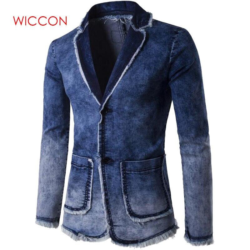 Casual Denim Jacket Suit Men's 2019 New Fashion Blazer Slim Fit Masculino Trend Jeans Suit Jean Jacket Men Plus Size