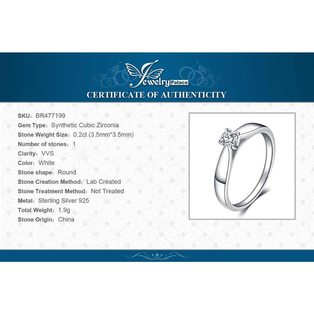 Jewelrypalace cz solitaire anel de noivado 925 anéis de prata esterlina para as mulheres anel de aniversário anéis de casamento prata 925 jóias