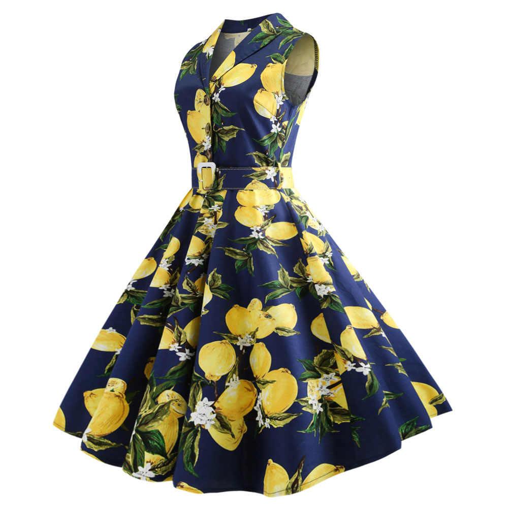 Chanh In Hình Mùa Hè Nữ ĐầM Vintage Cổ Gập Phong Cách Retro Sundress Cotton 50 60 Áo Dây Plus Kích Thước feminino Vestidos 5XL