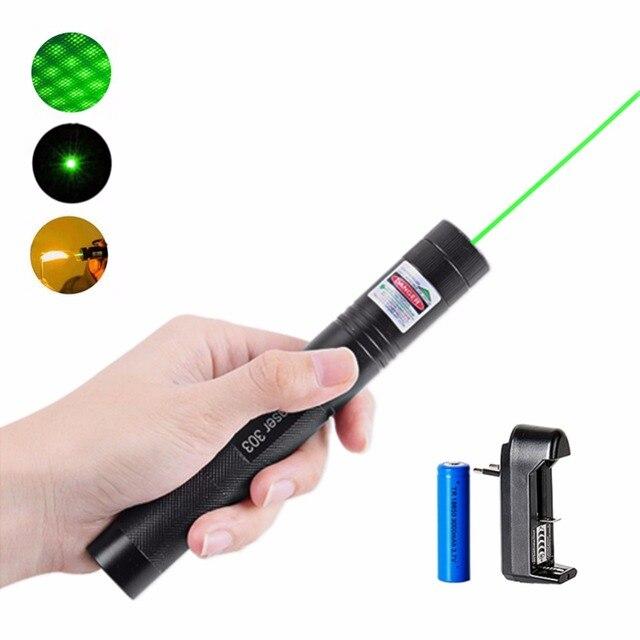 מצביע לייזר ירוק מתח גבוה 532nm 5 mW 303 עט לייזר כוכבים שריפת ראש מתכווננת חזקה להתאים עם 18650 סוללה + מטען