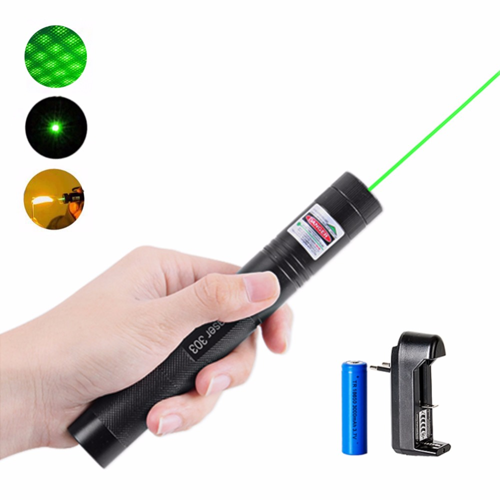 High Power Green Laser Pointer 5mW 532nm 303 Laser Pen Justerbar Kraftig Starry Head Burning Match med 18650 Batteri + Oplader