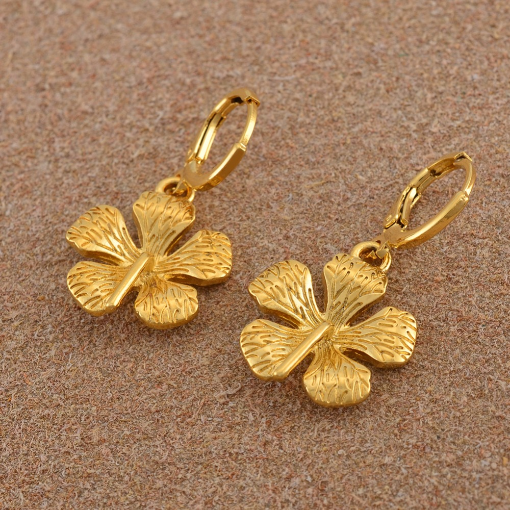 Anniyo Guyana Flower Earrings Kiribati Earring Gold Color Plant Micronesia Islands Marshall Jewelry For Women S 010716 In Drop From