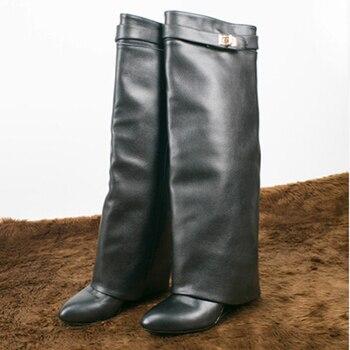 Bota feminina platform shoes Lock Fold Over Wedge Boots For Women thigh high snow rain boots balck red height increasing shoe