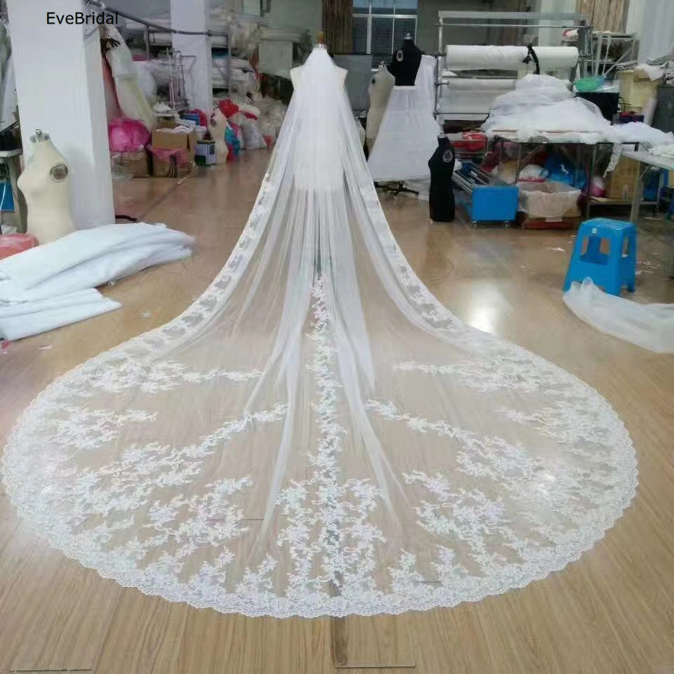 Купить с кэшбэком 3 Meters White Ivory Lace Cathedral Length Applique Edge Wedding Bridal Veil with Comb
