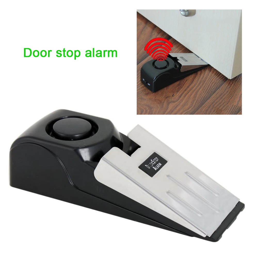 Mini Wireless Vibration Triggered Door Stop Alarm Home Wedge Shaped Stopper Alert Security System Block Blocking System 120dB new rubber wedge door stop stopper holder safety prevent keep door from slamming safely security gray white free shipping