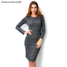 Фотография A Forever 2017 Autumn New Women Long Dress Vestido Long Sleeve O Neck Back Cross Hollowl Sexy Slim Knit Grey Maxi Dress AFF2004