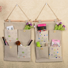 Cotton linen wall Hanging Type Storage Bag 4 pocket bags Behind Doors/On Wall Multi-layer Multi-fonction fabric sundry organizer
