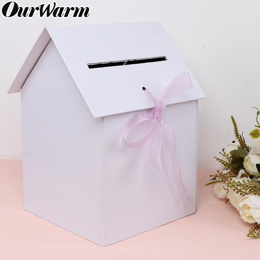 OurWarm DIY Wedding Card Box Paper Money Box Beautiful Wedding Decoration Supplies For Party White Paperboard Box