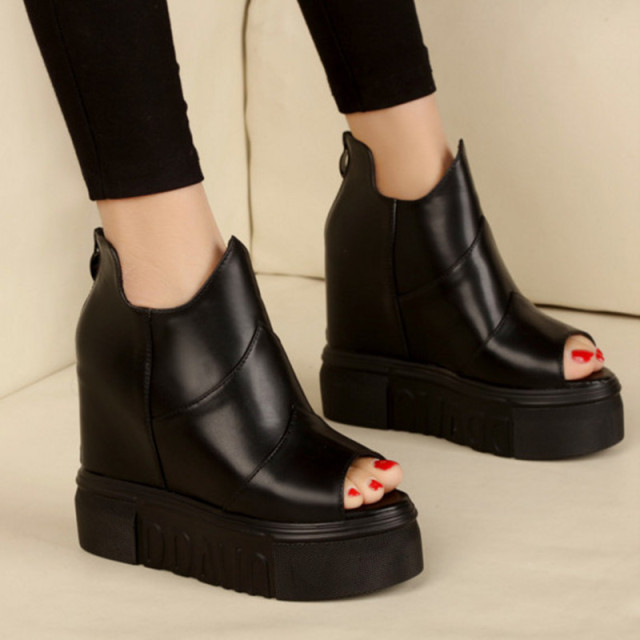 New Brand Open Toe High Women Boots Leather Shoes Platform Shoes ...