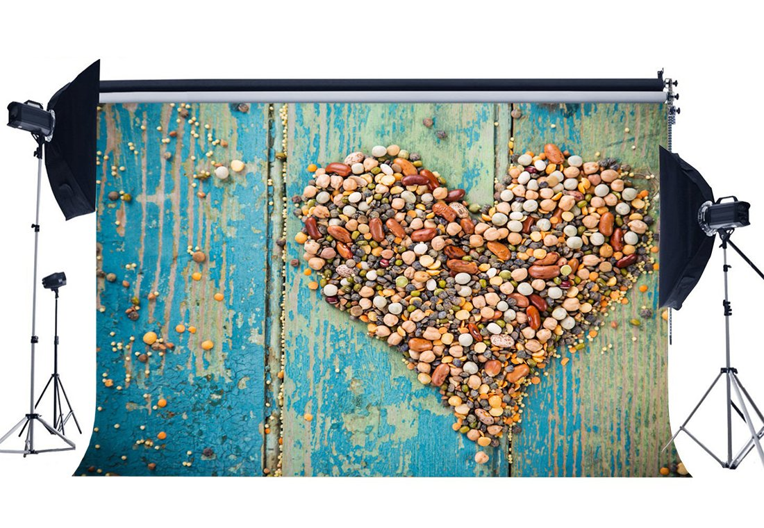 Happy Valentine's Day Backdrop Creative Cobblestone Shaped Heart on Blue Painted Peeled Stripes Wood Background-in Background from Consumer Electronics