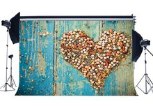 Happy Valentines Day Backdrop Creative Cobblestone Shaped Heart on Blue Painted Peeled Stripes Wood Background