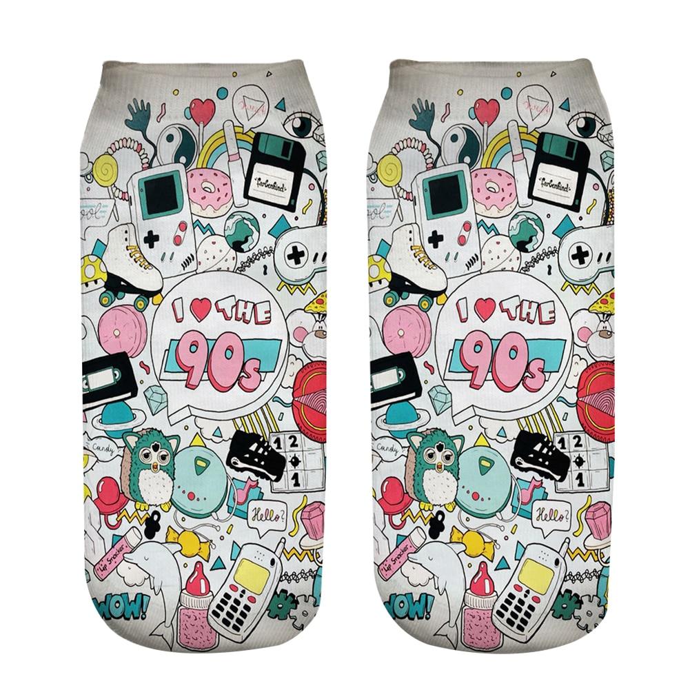 New 3D Print Socks I Love The 90's Women Socks Cute Ankle Sock Multiple Cartoons Casual Type Teenager Print Phone Socks