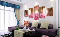 Trees Pink Flower 5 Piece Cheap Modern HD Print Cuadros Painting On Canvas Wall Art For