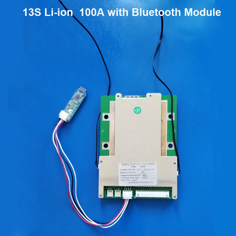 48v 100A smart BMS with Bluetooth and PC communication for 54 6V Lithium 18650 battery pack