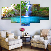 Canvas Painting Wall Art Living Room Decor 5 Piece Sunshine Waterfall Lake Natural Landscape Poster HD Prints Pictures Framework