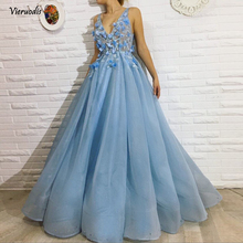 Blue Muslim Evening Dresses 2019 A-line V-neck Tulle Flowers Beaded Formal Islamic Dubai Saudi Arabic Long Elegant Evening Gown цена и фото