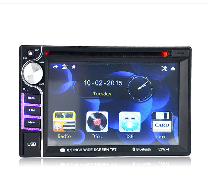 Support rear camera input 2 DIN 6.5 Inch Bluetooth hands free 5 languges video Touch Screen Car radio Stereo MP4 Player