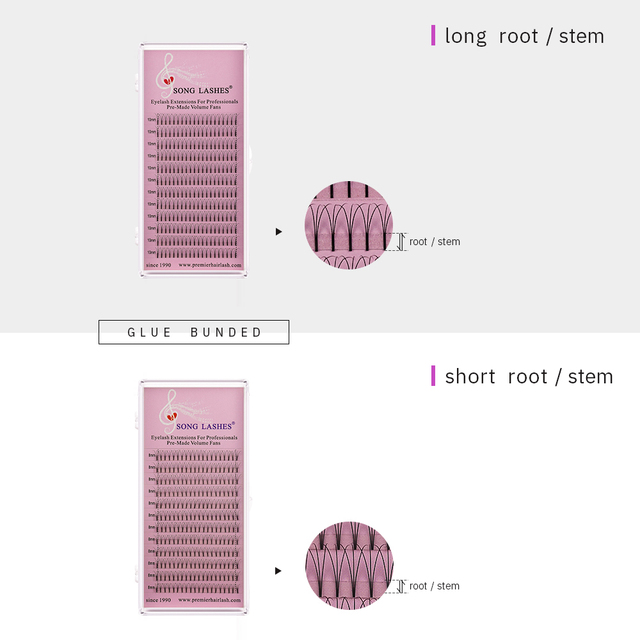 SONG LASHES 0.07 0.10mm thickness  long stem premade volume fans premade fans Eyelash Extensions for salon and professional lash 1