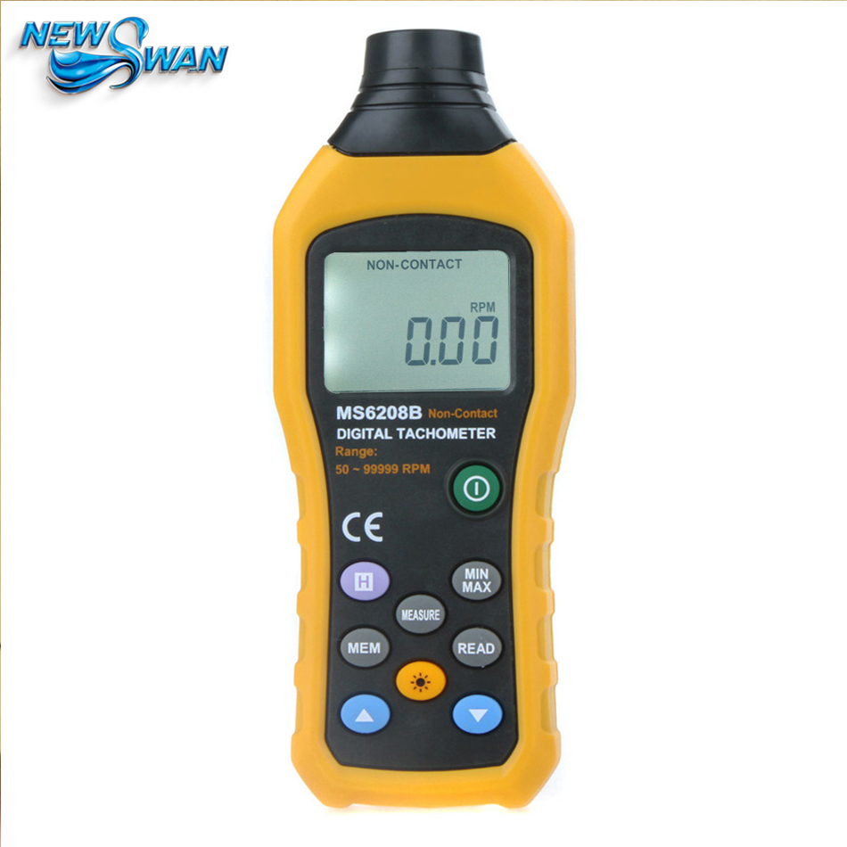 Official MS6208B Non Contact Digital Tachometer 50~99999RPM max Speed Meter Rotation Tester