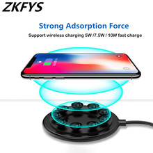 10W Ultra Thin wireless charger Fast Charging For iPhone X Xs XR Max Suction Cup Wireless Charger Samsung Xiaomi HUAWEI