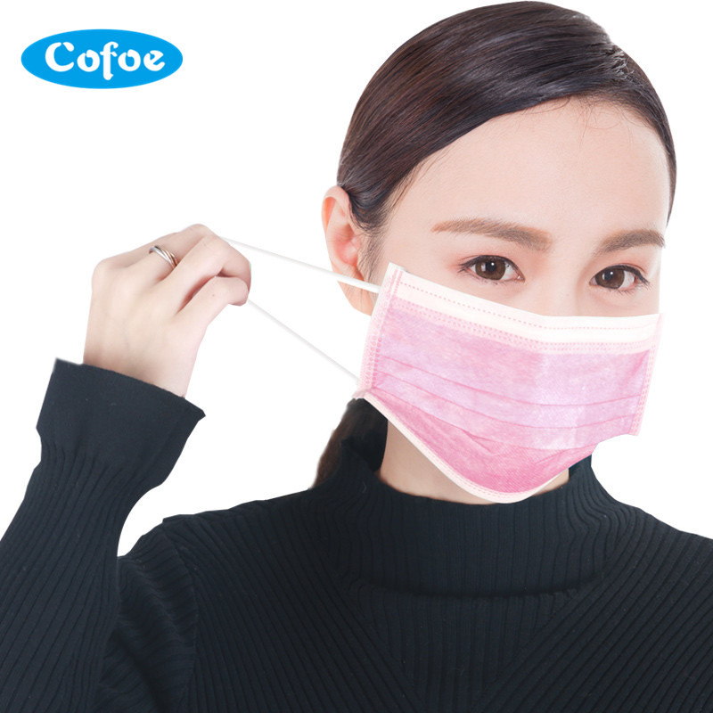 Cofoe Non-Woven Disposable Surgical Face Mask Medical Chemical Protective Mouth Cover Anti-Dust Anti-Smog Ear Loop Mouth Mask