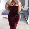 Fashion Autumn Dress Suede Bustier Dress Spaghetti Straps Sexy Solid Velvet Winter Strappy Bodycon Dresses Plus Size