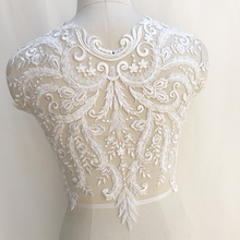 1 pc Large Boidce 3D Heavily Bead Bodice Lace Applique for Haute Couture , Bridal Gown Illusion Back
