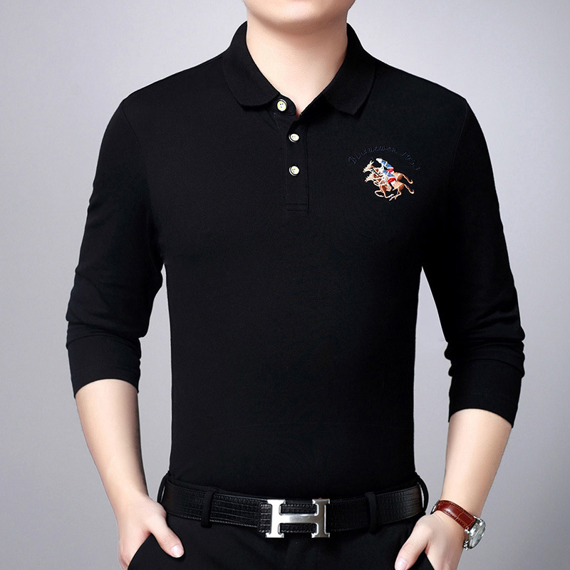 Polo   Shirt Mens Brands Spring Luxury horse embroidered Breathable Camisa Masculina Soft Cotton long sleeve solid   Polo   Men