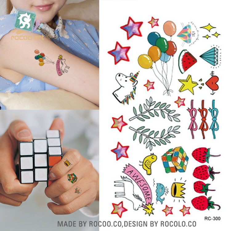 Body Art Waterproof Temporary Tattoos For Women And Men 3d Lovely Cartoon Design Small Arm Tattoo Sticker Wholesale RC2300