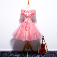 In 2018, the new one shouldered short ball gown pink dress will be introduced
