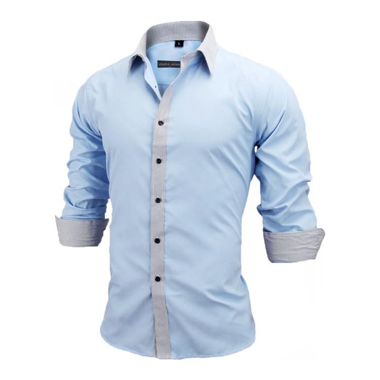 HTB1p5BSKVXXXXagXVXXq6xXFXXX1 - New Arrivals Slim Fit Male Shirt Solid Long Sleeve British Style Cotton Men's Shirt N332