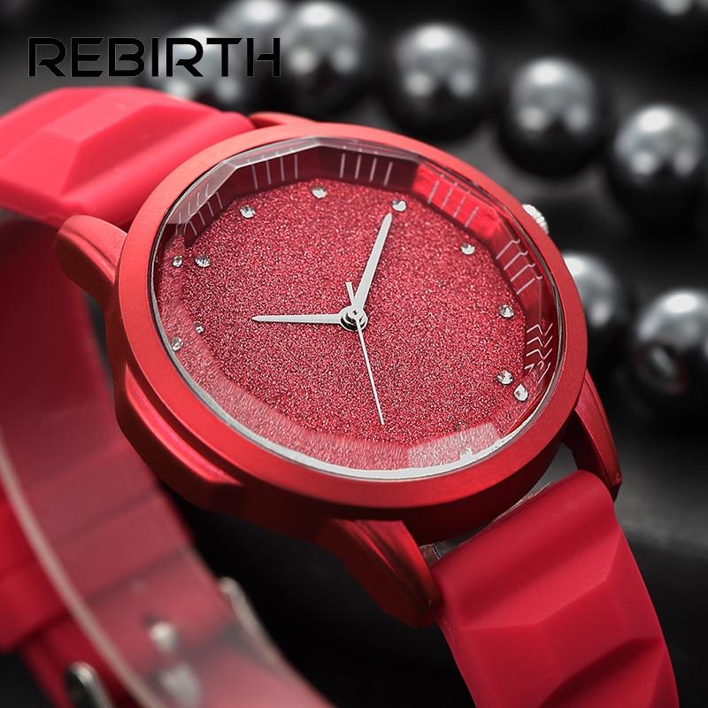 Starry sky tonneau dial de silicona suave relojes para mujeres relojes de pulsera de diamantes elegantes y elegantes REBIRTH marca reloj de cuarzo rojo